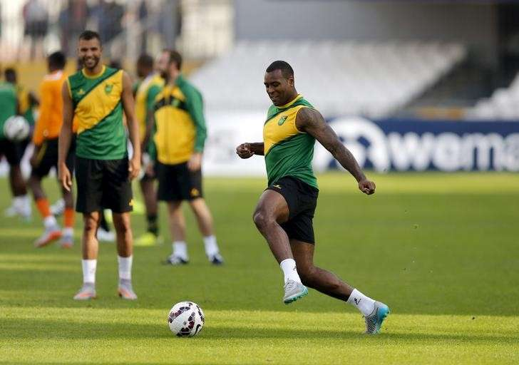 2b12867efec Jamaica's national soccer team player Wes Morgan participates in a training  session at the stadium Calvo