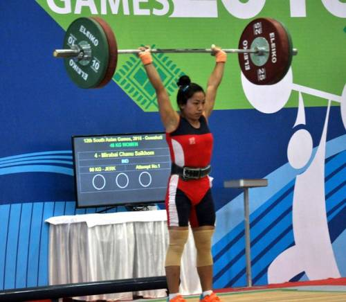 Saikhom Mirabai Chanu on her way to winnning the gold at the South Asian games on Saturday (image courtesy: MIB India)