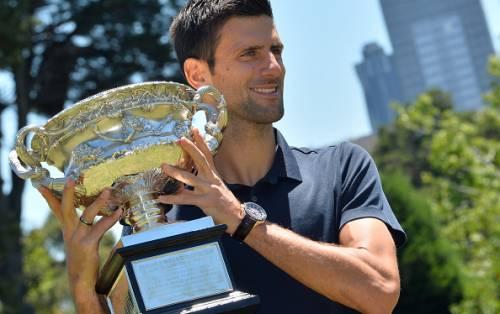 Novak Djokovic with the Australian Open title