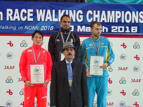 Gurmeet Singh (on the top podium) at the Asian Racewalking Championships on Sunday (image courtesy: Asian Athletics)