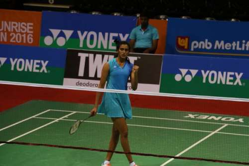 PV Sindhu in action at the India Open on Thursday (image courtesy: BAI)