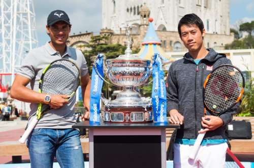 Rafael Nadal (left) and Kei Nishikori at the launch of the Barcelona Open on Monday