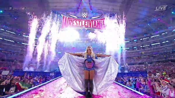 Charlotte enters the ring to defend the Divas Championship for the last time (Image Credits: WWE)