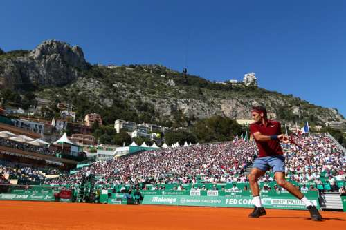 Roger Federer in action at the Monte Carlo Masters on Tuesday