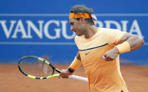 Rafael Nadal celebrates his win over Philipp Kohlschreiber at Barcelona on Saturday