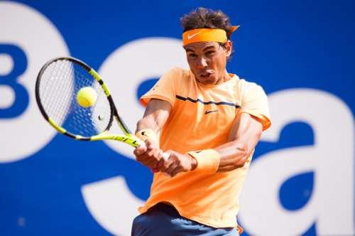 Rafael Nadal in action at the Barcelona Open on Wednesday