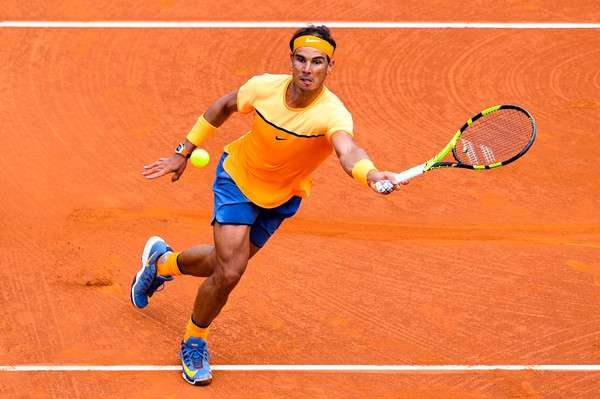 Rafael Nadal in action at the Barcelona Open on Thursday