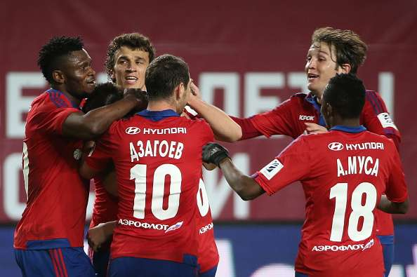 CSKA Moscow players celebrate a goal