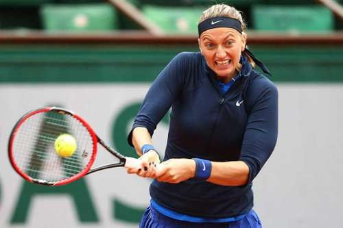 Petra Kvitova in action at the French Open in Paris on Sunday