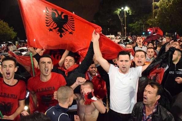 Albania fans celebrate