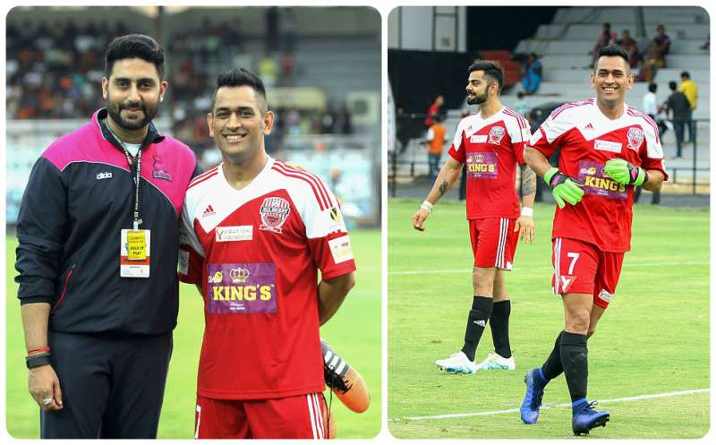 Image result for MS Dhoni Joins Ranbir Kapoor, Abhishek Bachchan For Football Match