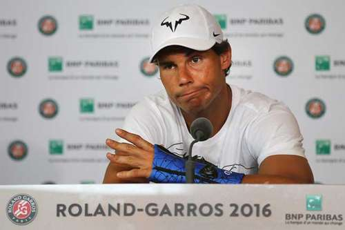A glum Rafael Nadal announcing his withdrawal from the French Open 2016 due to a wrist injury