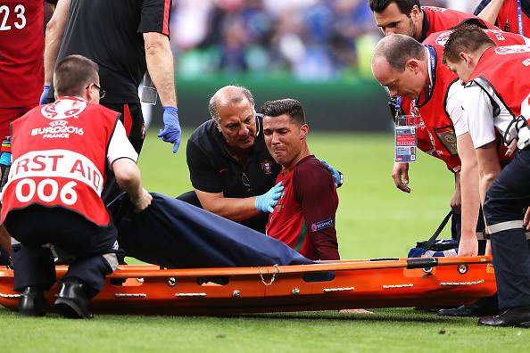 Video: Cristiano Ronaldo's Knee Injury in Euro 2016 Final vs. France and why twitter started trending Ronaldo's moth