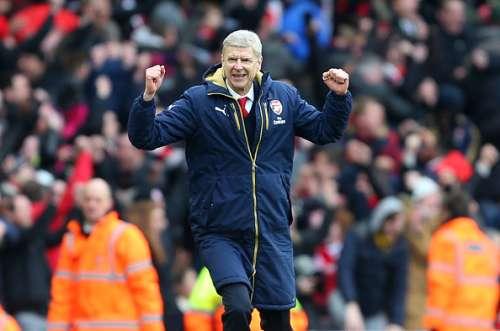 Arsene Wenger celebrating