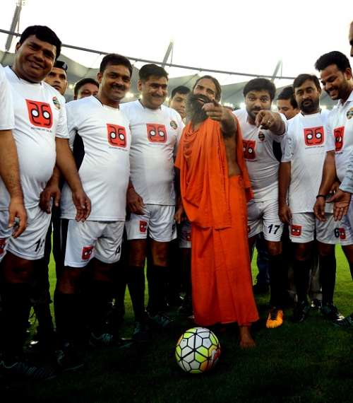 Baba Ramdev at a charity football match