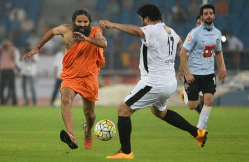 Baba Ramdev chasing the ball