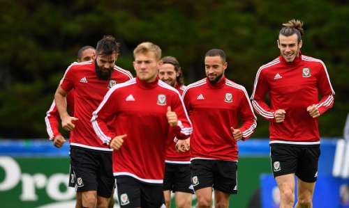 Welsh players train ahead of the game against Portugal