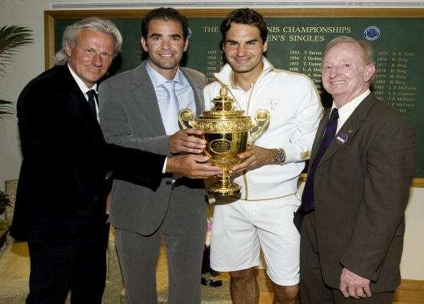 Bjorn Borg, Pete Sampras, Roger Federer and Rod Laver at Wimbledon