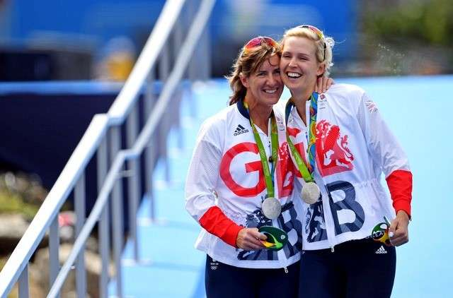 Victoria Thornley (GBR) and Katherine Grainger (GBR) celebrate winning the silver medal during the women