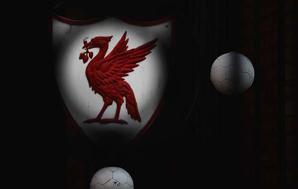 LIVERPOOL, ENGLAND - MARCH 10:  A Liverpool club crest is seen prior to the UEFA Europa League Round of 16 first leg match between Liverpool and Manchester United at Anfield on March 10, 2016 in Liverpool, United Kingdom.  (Photo by Laurence Griffiths/Getty Images)