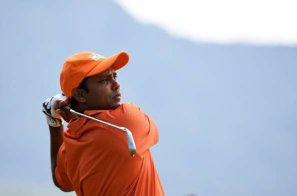 RIO DE JANEIRO, BRAZIL - AUGUST 11:  Anirban Lahiri of India plays his shot from the fourth tee during the first round of men