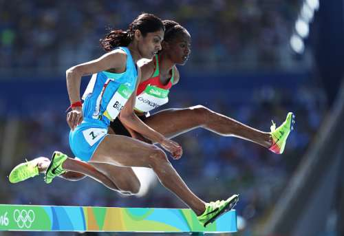 RIO DE JANEIRO, BRAZIL - AUGUST 13:  Lalita Shivaji Babar of India competes in the Women's 3000m Steeplechase Round 1 on Day 8 of the Rio 2016 Olympic Games at the Olympic Stadium on August 13, 2016 in Rio de Janeiro, Brazil.  (Photo by Paul Gilham/Getty Images)