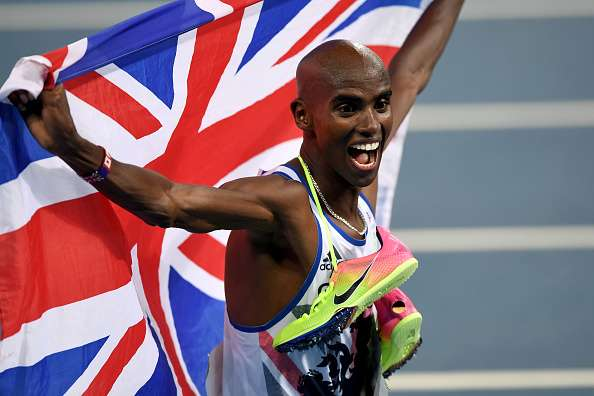 RIO DE JANEIRO, BRAZIL - AUGUST 20:  Mohamed Farah of Great Britain reacts after winning gold in the Men