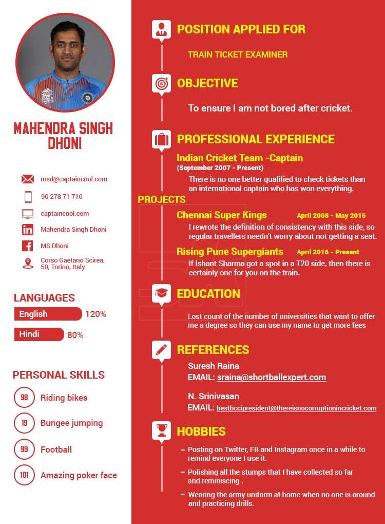 Humour MS Dhonis Post Retirement CV