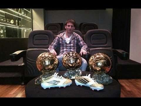 Lionel Messi Poses In His House With His Prizes