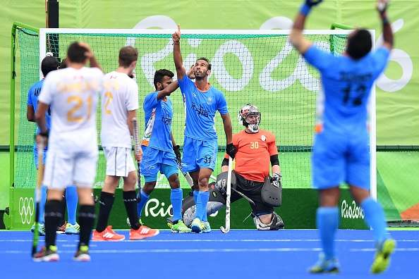 Ramandeep Singh celebrates scoring Indias second goal