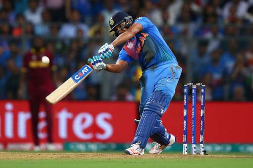 MUMBAI, INDIA - MARCH 31:  Rohit Sharma of India bats during the ICC World Twenty20 India 2016 Semi Final match between West Indies and India at Wankhede Stadium on March 31, 2016 in Mumbai, India.  (Photo by Ryan Pierse/Getty Images)