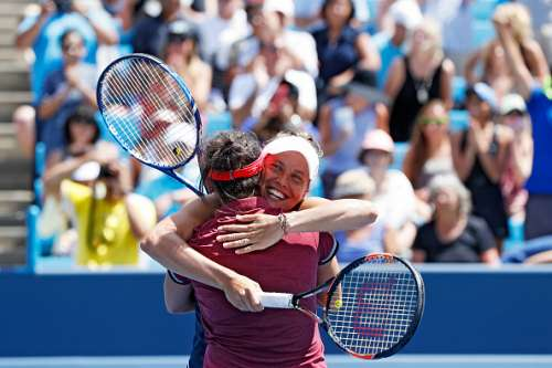 MASON, OH - AUGUST 21: Barbora Strycova of the Czech Republic and Sania Mirza of India celebrate their win in the women's doubles final against Martina Hingis and CoCo Vandeweghe on Day 9 of the Western & Southern Open at the Lindner Family Tennis Center on August 21, 2016 in Mason, Ohio. (Photo by Joe Robbins/Getty Images)