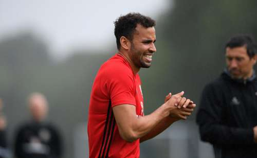 CARDIFF, WALES - AUGUST 31:  Wales player Hal Robson- Kanu looks on during training  ahead of their FIFA World Cup qualifier against Moldova at the Hensol Vale on August 31, 2016 in Cardiff, Wales.  (Photo by Stu Forster/Getty Images)