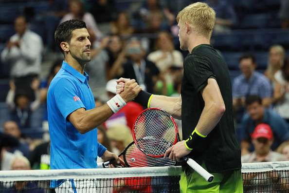 NEW YORK, NY - SEPTEMBER 04:  Novak Djokovic of Serbia shakes hands after Kyle Edmund of Great Britain during his fourth round Men