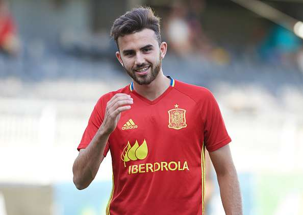 Borja Mayoral playing for Spain under 19's