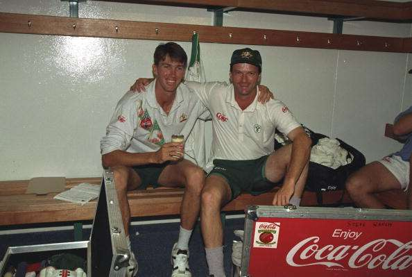 21 Mar 1994:  Steve Waugh and Glen McGrath of Australia celebrate victory after the Second Test match against South Africa at Newlands in Capetown, South Africa. Australia won the match by nine wickets.   \ Mandatory Credit: Mike  Hewitt/Allsport