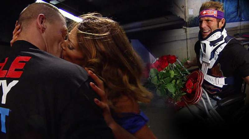 A stunned Zack Ryder watches as his friend Cena kisses his girlfriend Eve Torres