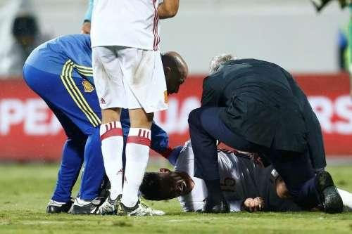 Football Soccer - Albania v Spain - World Cup 2018 Qualifiers - Loro Borici Stadium, Shkoder, Albania -9/10/16. Spain's Sergio Ramos reacts after an injury. REUTERS/Antonio Bronic