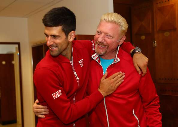 PARIS, FRANCE - JUNE 05:  Champion Novak Djokovic of Serbia clebrates with his coach, Boris Becker following his victory during the Men