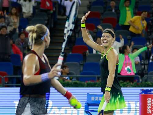 WUHAN, CHINA - SEPTEMBER 30:  Lucie Safarova of Czech Republic reacts after winning the semi-final match between Bethanie Mattek-Sands of United States and Lucie Safarova of Czech Republic against Christina Mchale of United States and Shuai Peng of China on day 6 at Optics Valley International Tennis Center on September 30, 2016 in Wuhan, China.  (Photo by Kevin Lee/Getty Images)