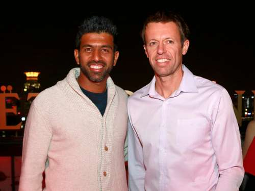 SHANGHAI, CHINA - OCTOBER 08:  (L to R) Rohan Bopanna and Daniel Nestor poses for a picture at a party hosted by Mot & Chandon and ATP at Hotel Indigo Shanghai On The Bund on October 8, 2016 in Shanghai, China.  (Photo by Kevin Lee/Getty Images)