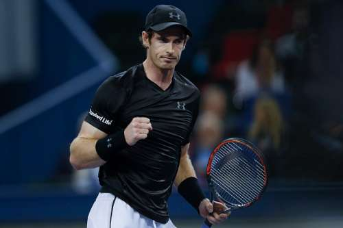 SHANGHAI, CHINA - OCTOBER 15:  Andy Murray of Great Britain celebrates a point against Gilles Simon of France during the Men's singles Semifinals match in day seven of Shanghai Rolex Masters at Qi Zhong Tennis Centre on October 15, 2016 in Shanghai, China.  (Photo by Lintao Zhang/Getty Images)