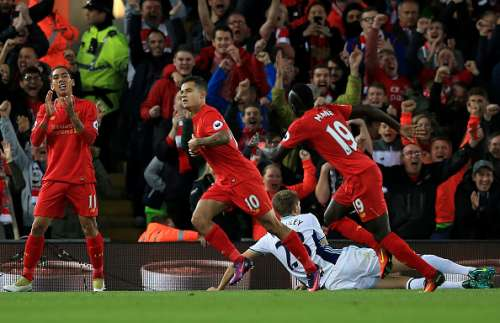 LIVERPOOL, ENGLAND - OCTOBER 22:  Philippe Coutinho of Liverpool celebrates  his goal during the Premier League match between Liverpool and West Bromwich Albion at Anfield on October 22, 2016 in Liverpool, England.  (Photo by Jan Kruger/Getty Images)