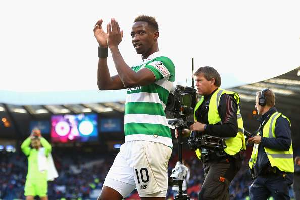 GLASGOW, SCOTLAND - OCTOBER 23:  Moussa Dembele of Celtic celebrates victory during the Betfred Cup Semi Final match between Rangers and Celtic at Hampden Park on October 23, 2016 in Glasgow, Scotland.  (Photo by Michael Steele/Getty Images)