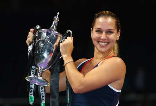 Dominika Cibulkova with the WTA Finals trophy