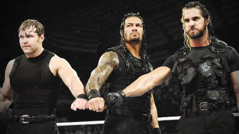 Dean Ambrose (left), Roman Reigns ( centre ) and Seth Rollins formed the Shield