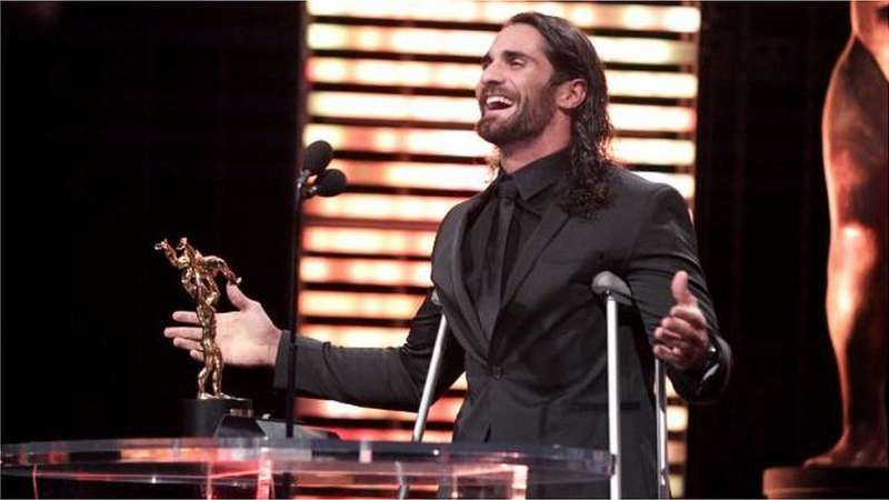 Seth Rollins winning the Superstar of the Year 2015 at the Slammy Awards
