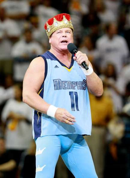 MEMPHIS, TN - MAY 13:  Professional wrestler Jerry 'The King' Lawler address the fans prior to to Game Seven of the Western Conference Quarterfinals in the 2012 NBA Playoffs between the Memphis Grizzlies and the Los Angeles Clippers at FedExForum on May 13, 2012 in Memphis, Tennessee.  NOTE TO USER: User expressly acknowledges and agrees that, by downloading and or using this photograph, User is consenting to the terms and conditions of the Getty Images License Agreement  (Photo by Kevin C. Cox/Getty Images)
