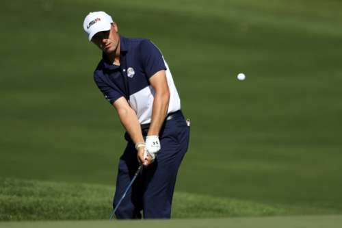 Oct 2, 2016; Chaska, MN, USA; Jordan Spieth of the United States chips on the 11th hole during the single matches in 41st Ryder Cup at Hazeltine National Golf Club. Mandatory Credit: Rob Schumacher-USA TODAY Sports/Files