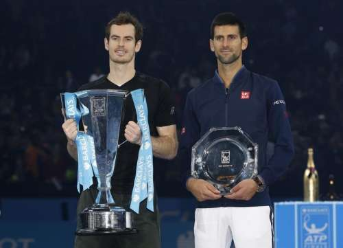 Tennis Britain - Barclays ATP World Tour Finals - O2 Arena, London - 20/11/16 Great Britain's Andy Murray and Serbia's Novak Djokovic with their trophies after the final Action Images via Reuters / Paul Childs Livepic